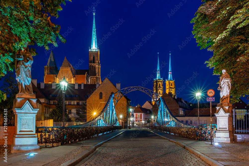 Fototapety, obrazy: Miasto Wrocław nocą, Most Tumski