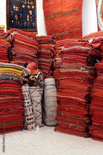 Fotobehang Stof Rugs in a Market, Marrakech, Morocco