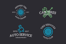 Set Of Retro Vintage Automobile, Wrench, Screwdriver, Mechanic, Wheel Logo Or Insignia, Emblems, Labels And Badges And Other Branding Objects. Vector Line Style