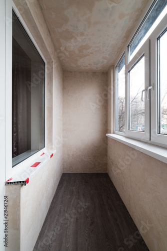 Photo Plastered walls on the balcony