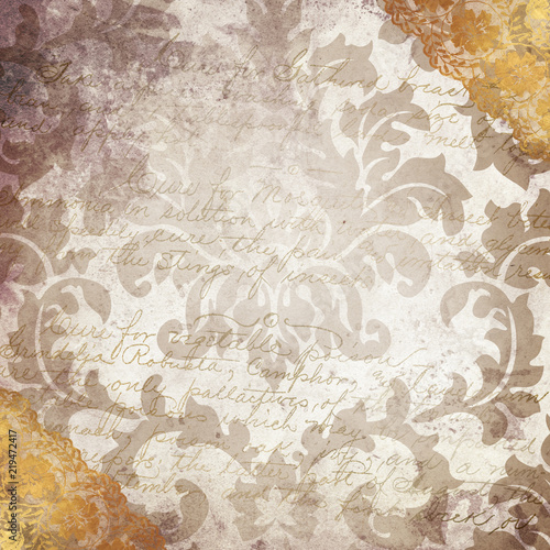 Fotobehang Stof Louisiana Life New Orleans Culture Parchment Damask Wallpaper Background