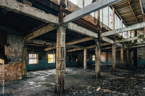 Dark interior of empty abandoned factory