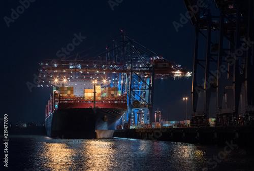 Canvas Print Hamburger Hafen bei Nacht