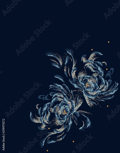 Fotobehang Vlinders in Grunge Flower of a Beautiful design illustration