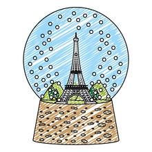 Doodle Eiffel Tower Inside Sno...