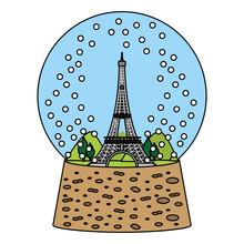 Color Eiffel Tower Inside Snow Ball Glass