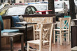 Outdoor Cafe with Furniture Interior