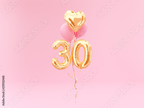 Gold Balloons Number 30th Anniversary Happy Birthday Congratulations 3d Rendering