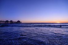 Perfect Sunset At Huntington Beach, California, U.S.A.