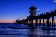 Huntington Beach Pier At Dusk, California, U.S.A.