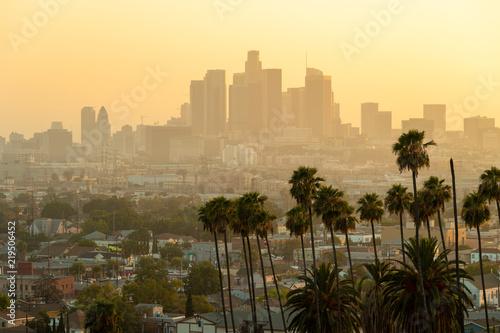 Staande foto Los Angeles Los Angeles downtown skyline evening