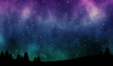 Night Sky With Aurora Borealis...