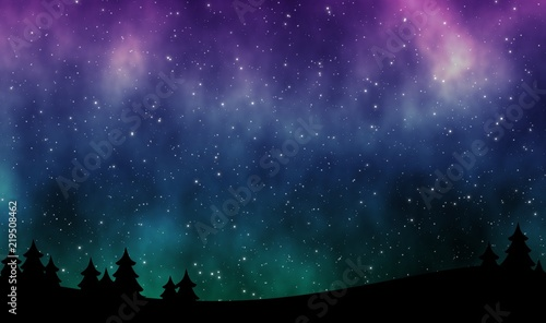 Cuadros en Lienzo Night sky with aurora borealis and stars field illustration design background