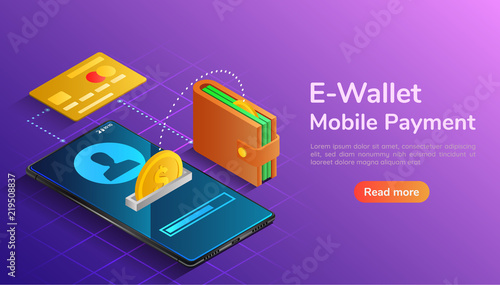 Cuadros en Lienzo Isometric wallet and credit card connected and transfer money to smartphone