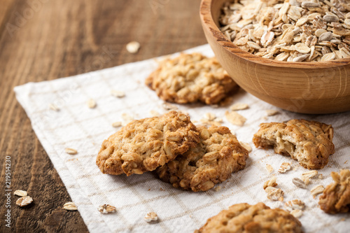 Fotobehang Koekjes Homemade oatmeal cookies and oat flakes