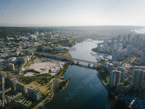 Aerial Drone Shot of Vancouver Harbour at Sunset Beautiful Cityscape