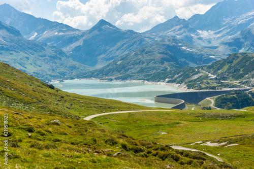 Tuinposter Blauwe jeans The Tauernmoossee dam in Austria Stubachtal Pinzgau Uttendorf at Nationalpark Hohe Tauern