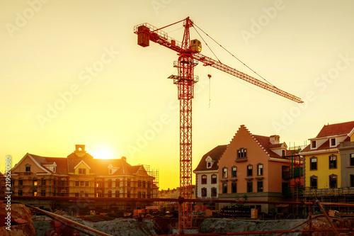 Deurstickers Stad gebouw Dusk building site