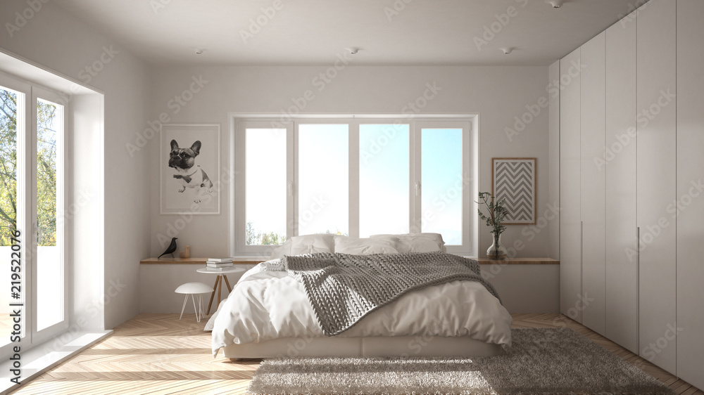 Fototapety, obrazy: Scandinavian white minimalist bedroom with panoramic window, fur carpet and herringbone parquet, modern architecture interior design