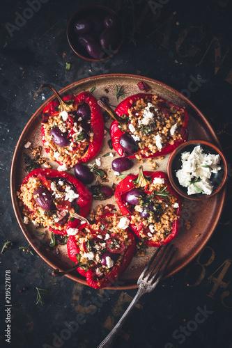Poivron Rouge Farcis au Millet, Chorizo, Olive et Fromage Féta Fototapeta