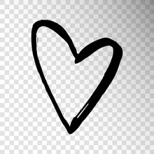 Black Hand Drawn Heart Isolated On Transparent Background. Design Element For Valentine's Day.