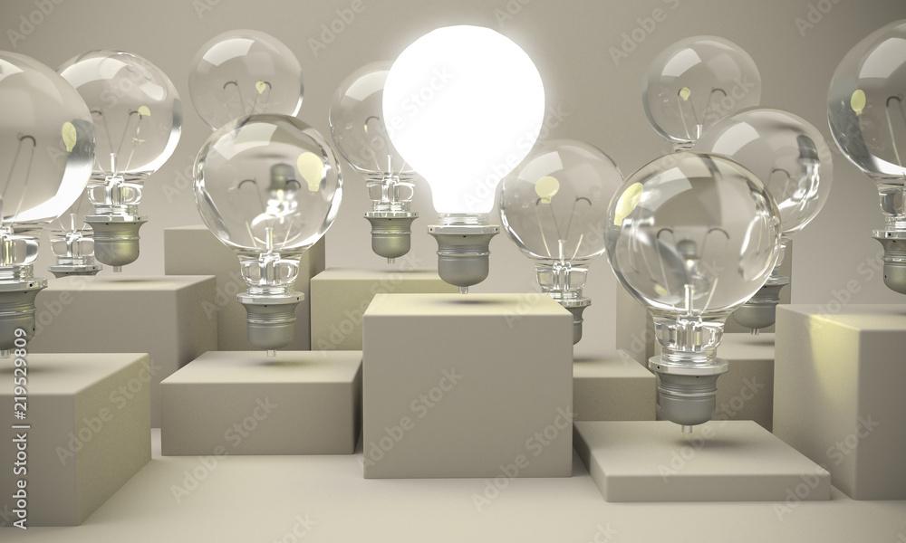 Fototapety, obrazy: Light bulb turned on