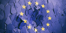 European Union Flag On Cracked Wall Background. 3d Illustration