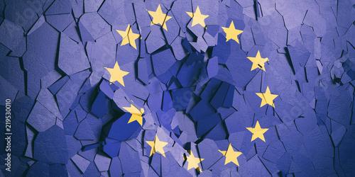 Fotomural European Union flag on cracked wall background. 3d illustration
