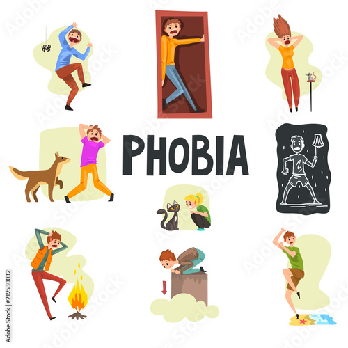 Photo People suffering from various phobias set, arachnophobia, claustrophobia, musoph