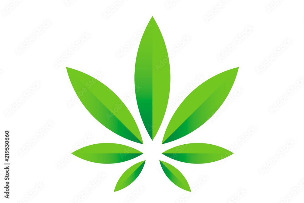 Fototapety, obrazy: Cannabis marijuana hemp green leaf flat symbol or logo design. Cannabis green silhouette ecology logo. Hemp emblem for the logo design packaging of goods, food, for the creation of printed products.