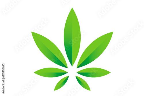 Obraz Cannabis marijuana hemp green leaf flat symbol or logo design. Cannabis green silhouette ecology logo. Hemp emblem for the logo design packaging of goods, food, for the creation of printed products. - fototapety do salonu