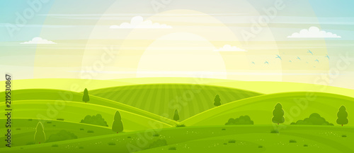 Poster Lime groen Sunny rural landscape with hills and fields at dawn. Summer green hills, meadows and fields, blue sky with white clouds.