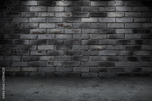 Stone wall dark night alley quiet street for background