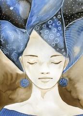 Panel Szklany Romantyczny Woman watercolors.