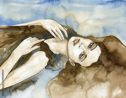Cadres-photo bureau Inspiration painterly Woman watercolors.