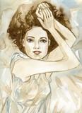 Woman watercolors. - 219549604