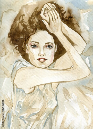 Papiers peints Inspiration painterly Woman watercolors.