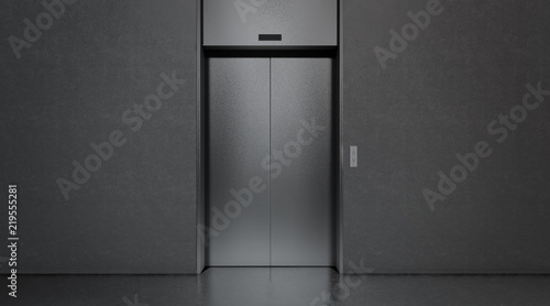 Blank black closed elevator in office floor interior mock up, 3d rendering Wallpaper Mural