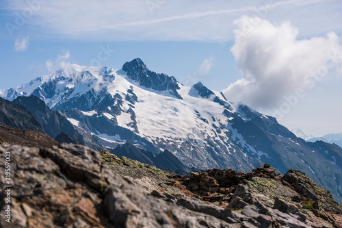 Tuinposter Alpen Mont-Blanc Snowy Mountain and Rocky Landscape on a Sunny Day.