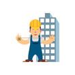 Caucasian builder. Vector cartoon illustration. Vector flat design illustration