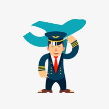 Airline Pilot. Vector Cartoon ...