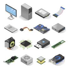 Computer Parts Isometric Set Isolated On White Background
