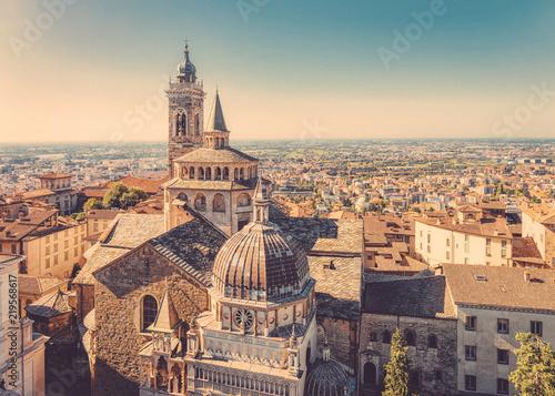 Fotografie, Obraz  Cityscape with Basilica of Santa Maria Maggiore in Bergamo  Italy