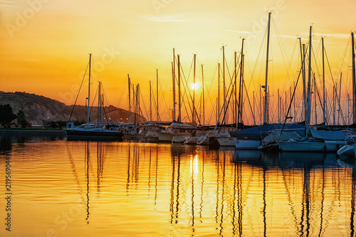 Beautiful sunset at marina Izola village Adriatic sea Slovenia Canvas Print