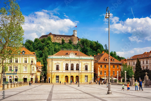Academia Philarmonic on Congress square and Old castle Ljubljana Slovenia