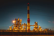 Panorama of oil petrochemical refinery plant after sunset