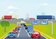 Verkehr auf der Autobahn mit Personenwagen und Lastwagen