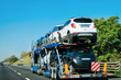 New car carrier on road