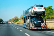 New car carrier in road