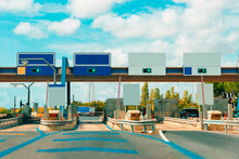 Toll Booth With Blank Traffic Sign In Road In Italy